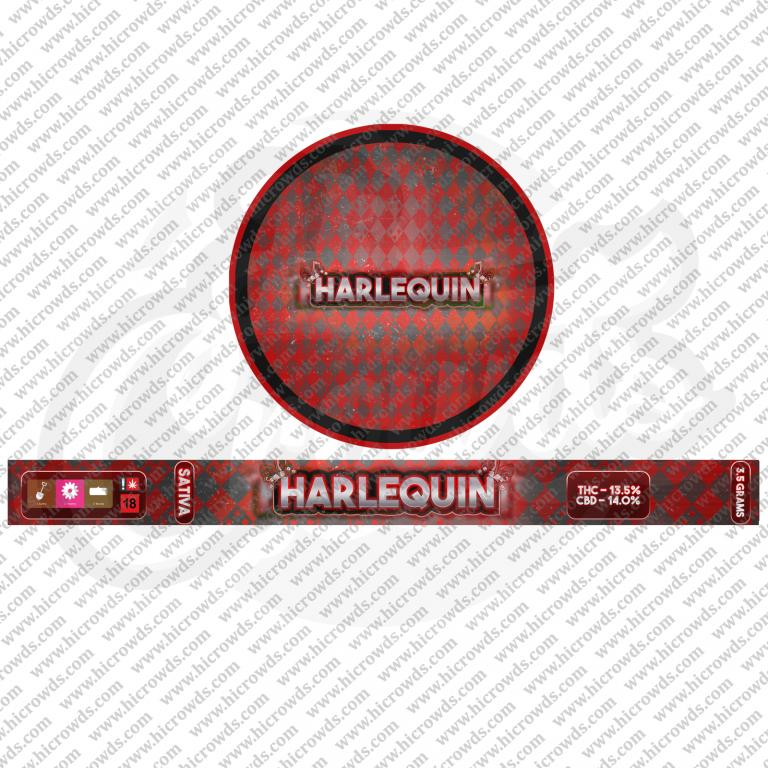 Harlequin Cali cannabis strain novelty tin design